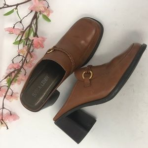 Sam & Libby Brown Leather Loafers Mules 9 M